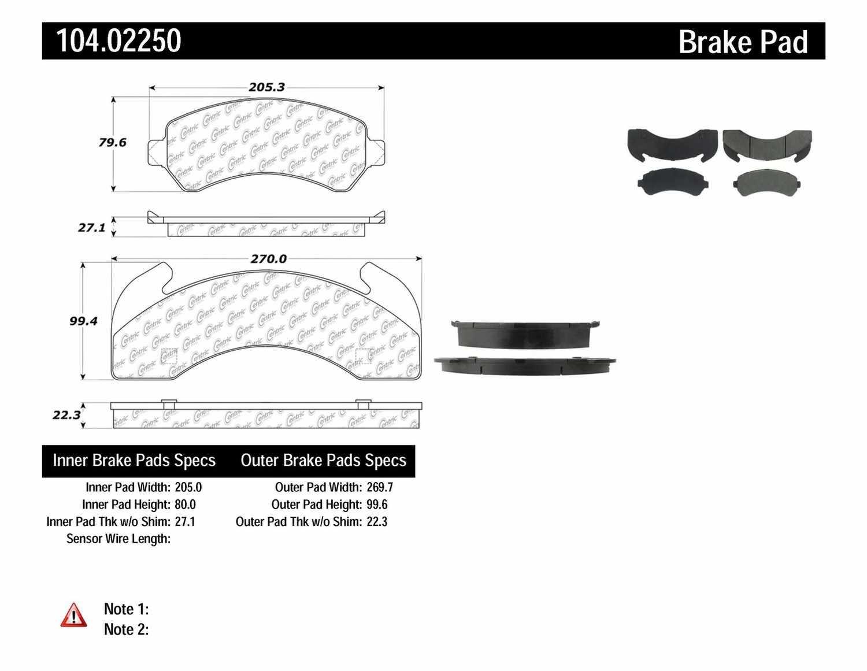 CENTRIC PARTS - Posi-Quiet Metallic Disc Brake Pad w/Shims - CEC 104.02250