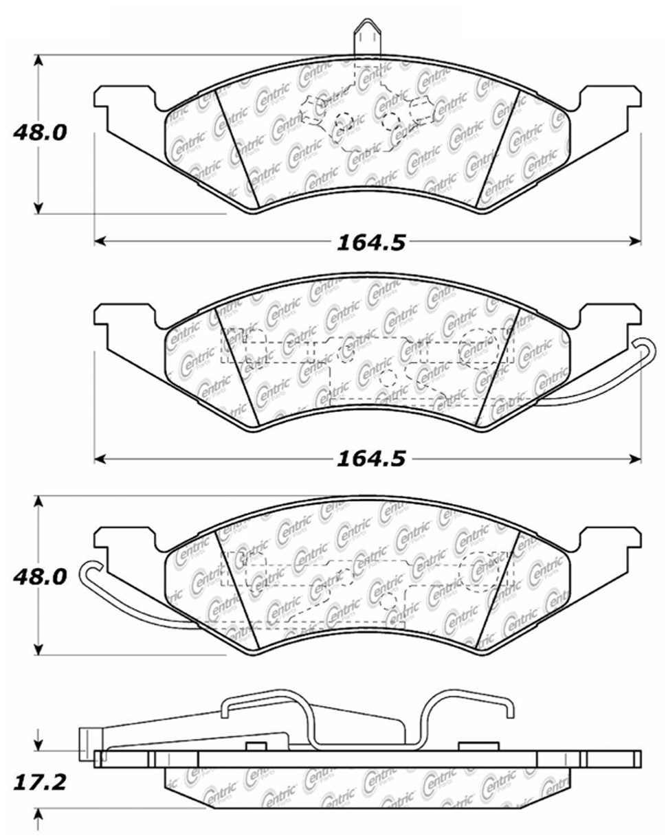 CENTRIC PARTS - Posi-Quiet Metallic Disc Brake Pad w/Shims & Hardware-Preferred - CEC 104.02570