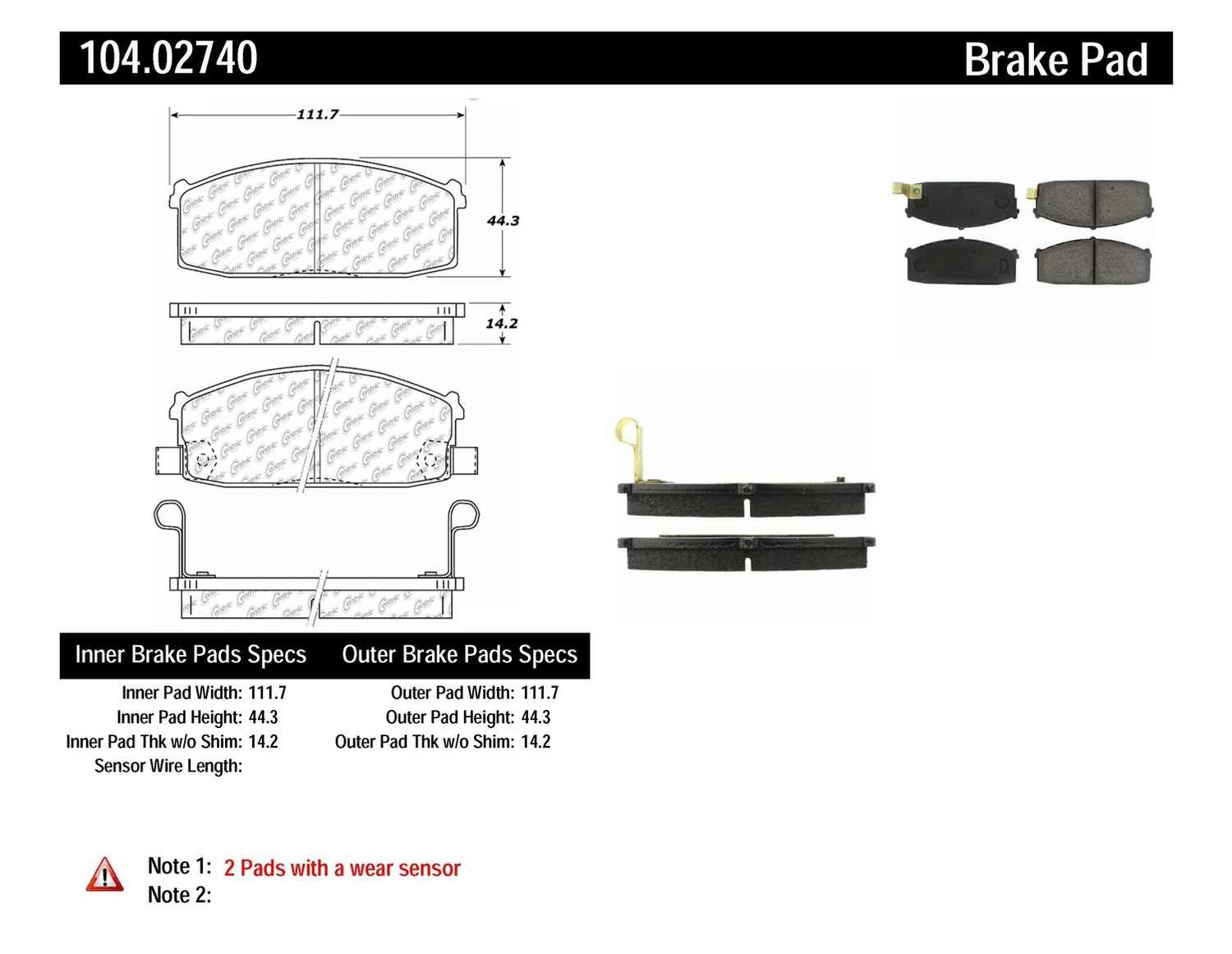 CENTRIC PARTS - Posi-Quiet Metallic Disc Brake Pad w/Shims-Preferred (Front) - CEC 104.02740