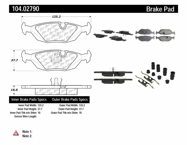 CENTRIC PARTS - Posi-Quiet Metallic Disc Brake Pad w/Shims & Hardware-Preferred (Rear) - CEC 104.02790