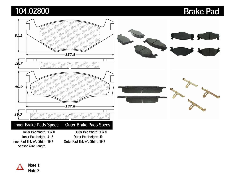 CENTRIC PARTS - Posi-Quiet Metallic Disc Brake Pad w/Shims & Hardware-Preferred (Front) - CEC 104.02800
