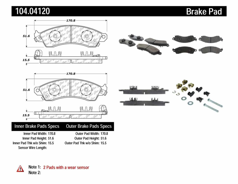 Centric Parts Disc Brake Pad Set Part Number 10404120 Arnolt Bristol Wiring Diagram Posi Quiet Metallic W Shims Hardware