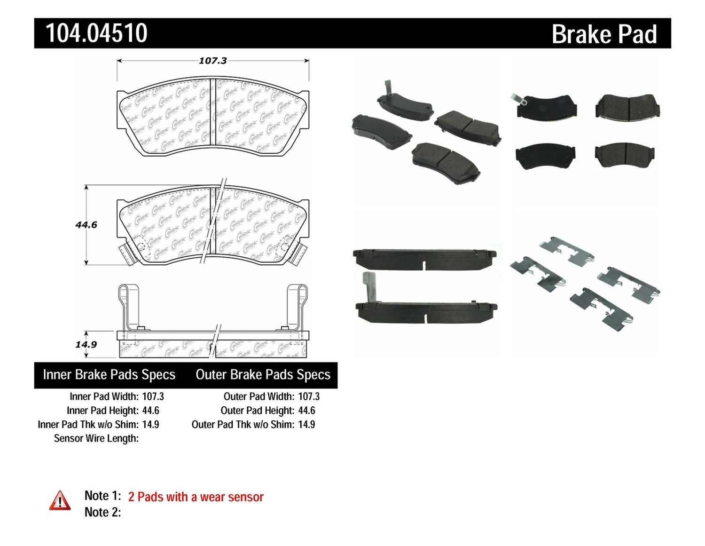 CENTRIC PARTS - Posi-Quiet Metallic Disc Brake Pad w/Shims & Hardware-Preferred (Front) - CEC 104.04510