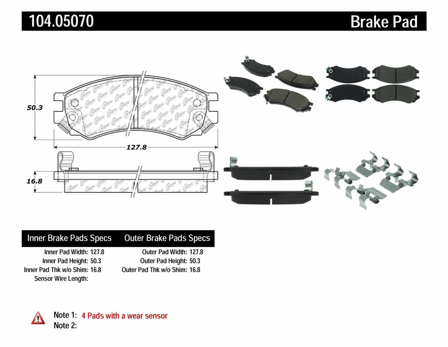CENTRIC PARTS - Posi-Quiet Metallic Disc Brake Pad w/Shims & Hardware-Preferred (Front) - CEC 104.05070
