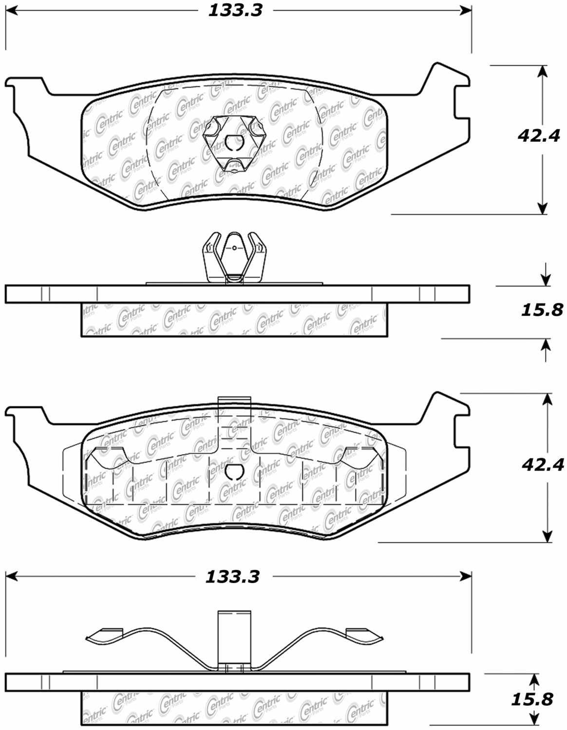 CENTRIC PARTS - Posi-Quiet Metallic Disc Brake Pad w/Shims & Hardware-Preferred (Rear) - CEC 104.05120