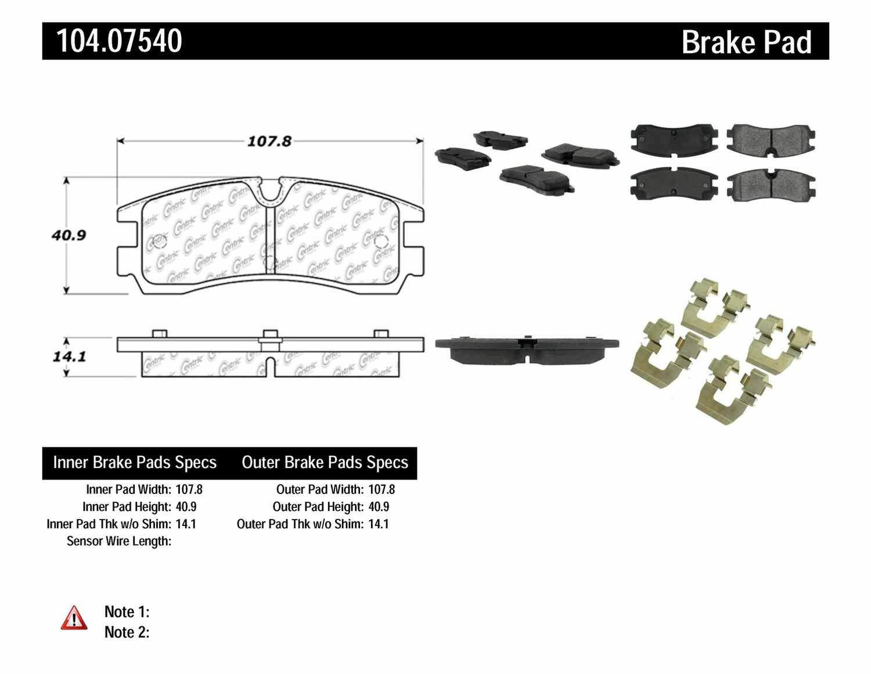 CENTRIC PARTS - Posi-Quiet Metallic Disc Brake Pad w/Shims & Hardware-Preferred (Rear) - CEC 104.07540