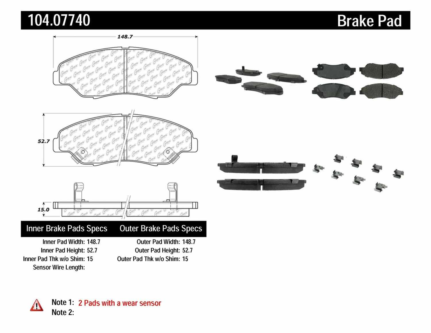 CENTRIC PARTS - Posi-Quiet Metallic Disc Brake Pad w/Shims & Hardware-Preferred (Front) - CEC 104.07740