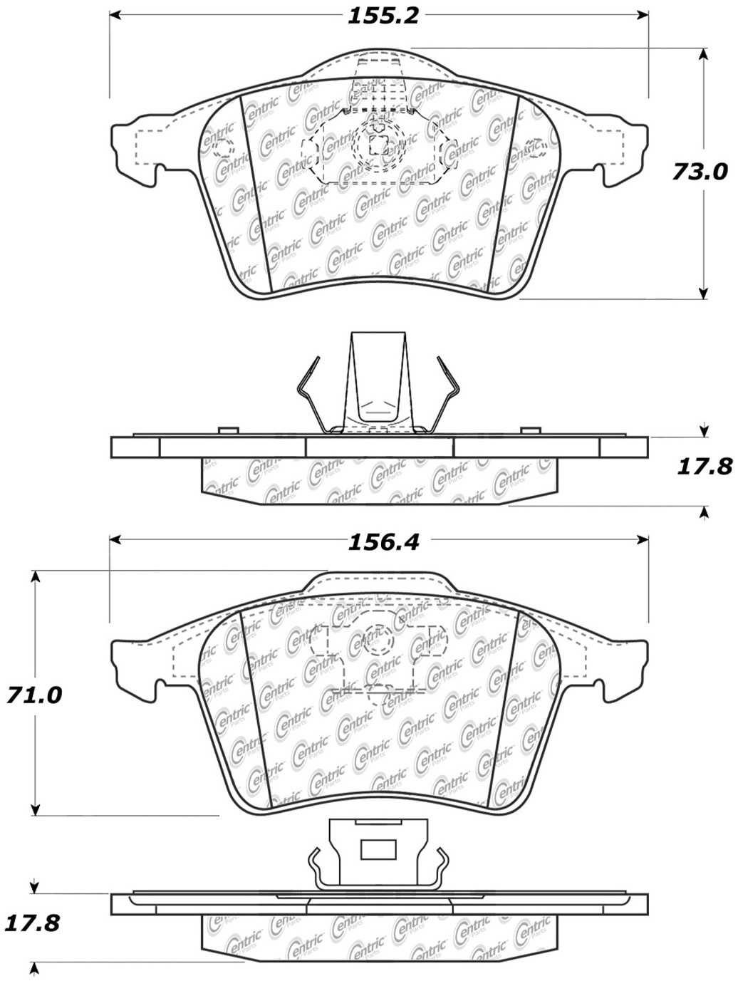 CENTRIC PARTS - Posi-Quiet Metallic Disc Brake Pad w/Shims & Hardware-Preferred (Front) - CEC 104.09152