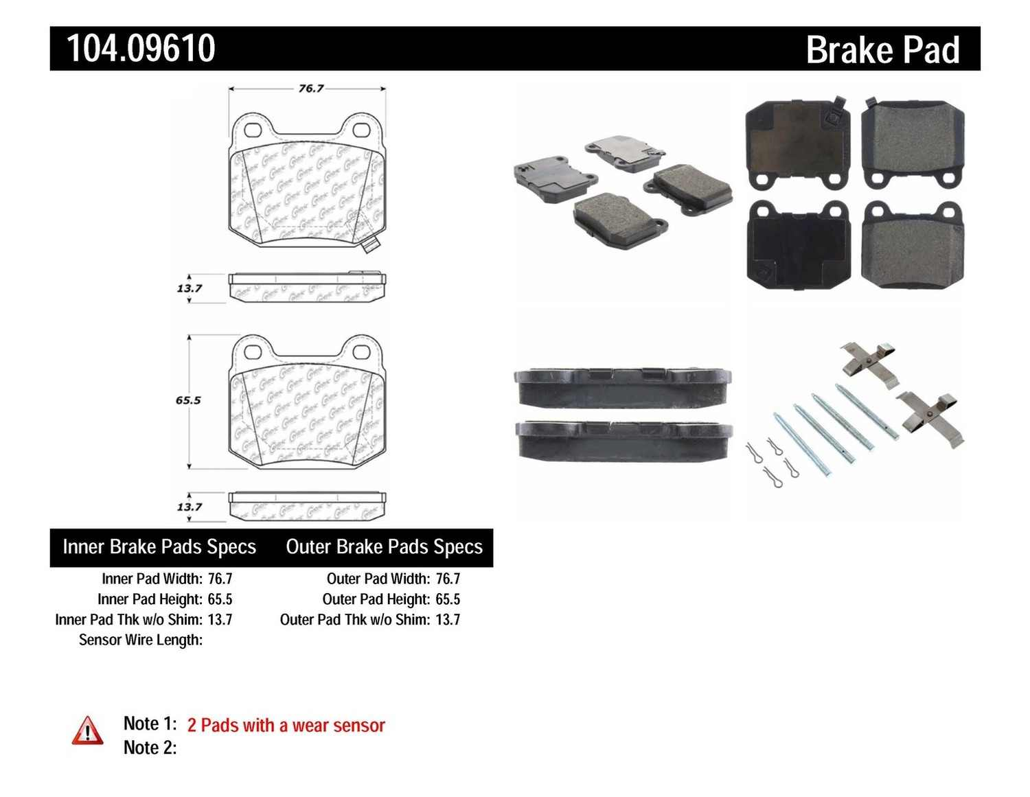 CENTRIC PARTS - Posi-Quiet Metallic Disc Brake Pad w/Shims & Hardware-Preferred (Rear) - CEC 104.09610