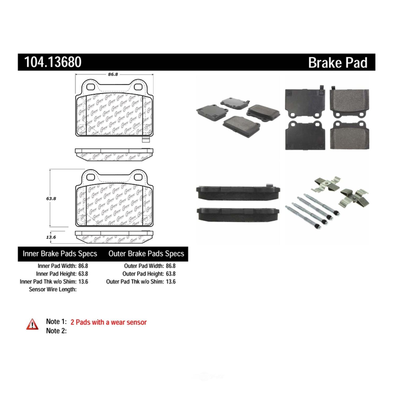 CENTRIC PARTS - Centric Posi-Quiet Semi-Metallic Disc Brake Pad Sets (Rear) - CEC 104.13680