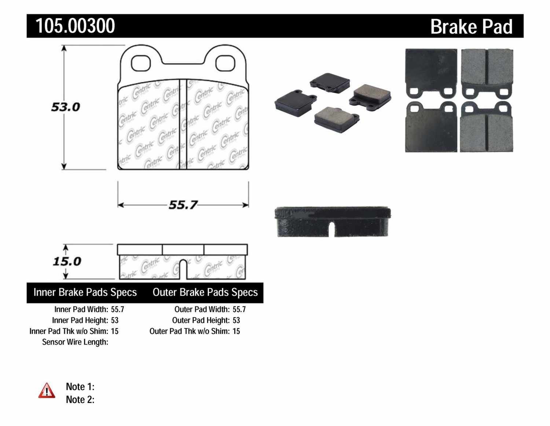 CENTRIC PARTS - Posi-Quiet Ceramic Disc Brake Pad w/Shims-Preferred (Rear) - CEC 105.00300