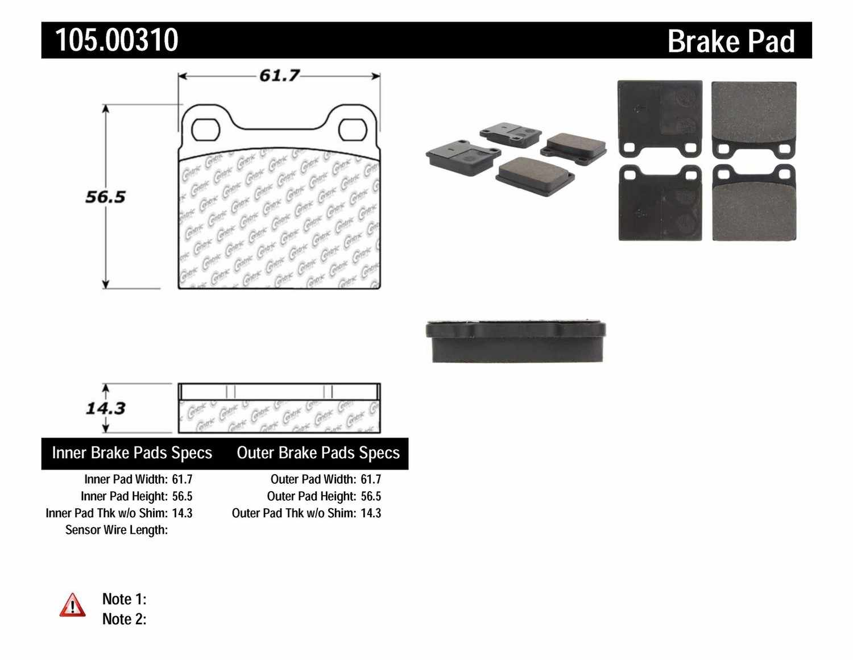 CENTRIC PARTS - Posi-Quiet Ceramic Disc Brake Pad w/Shims-Preferred (Rear) - CEC 105.00310