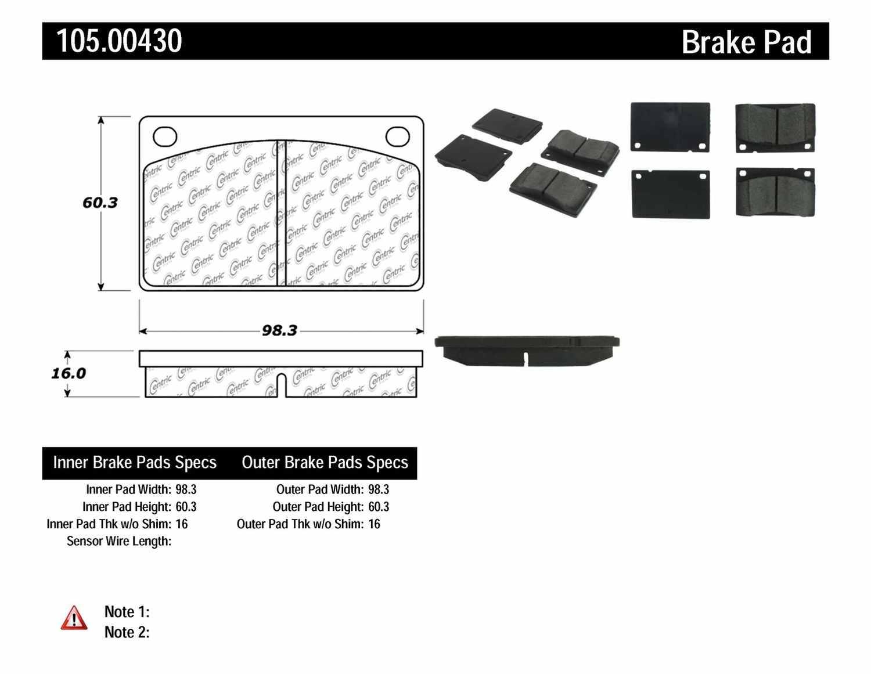 CENTRIC PARTS - Posi-Quiet Ceramic Disc Brake Pad w/Shims (Front) - CEC 105.00430