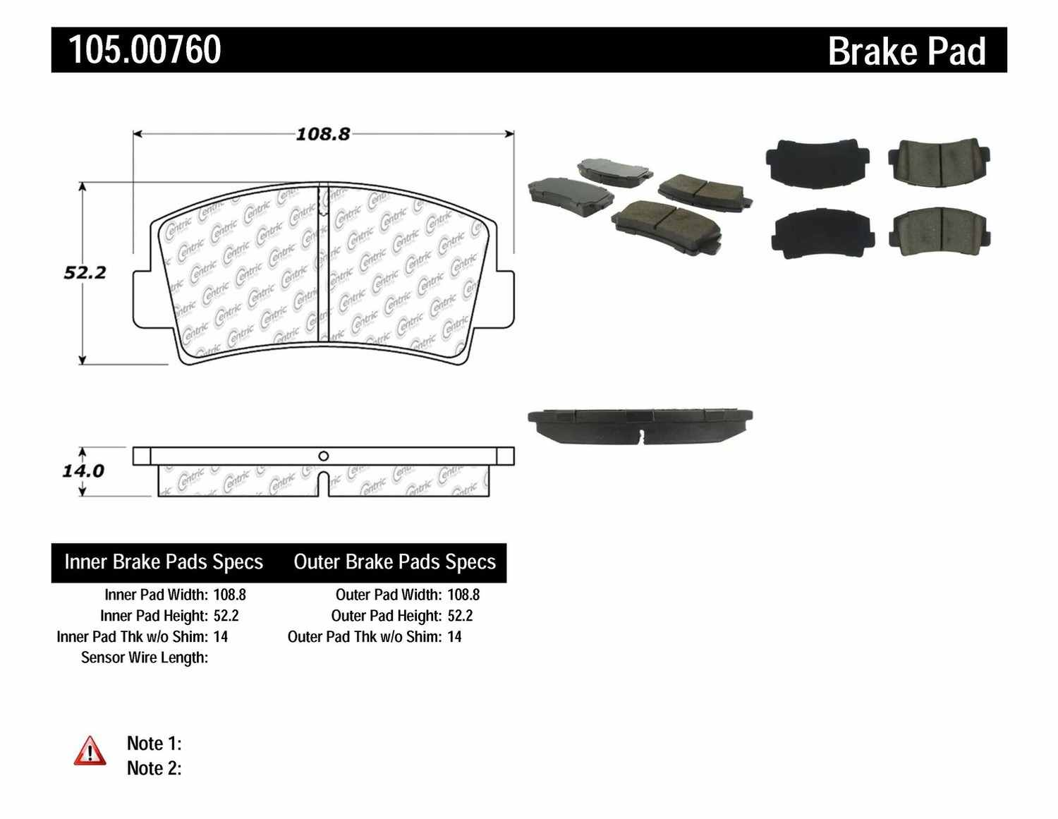 CENTRIC PARTS - Posi-Quiet Ceramic Disc Brake Pad w/Shims-Preferred (Front) - CEC 105.00760