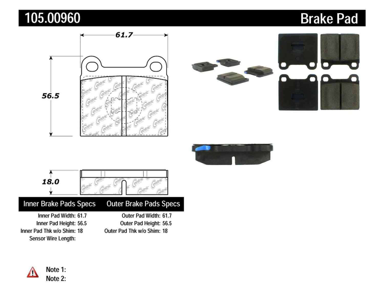 CENTRIC PARTS - Posi-Quiet Ceramic Disc Brake Pad w/Shims-Preferred (Front) - CEC 105.00960