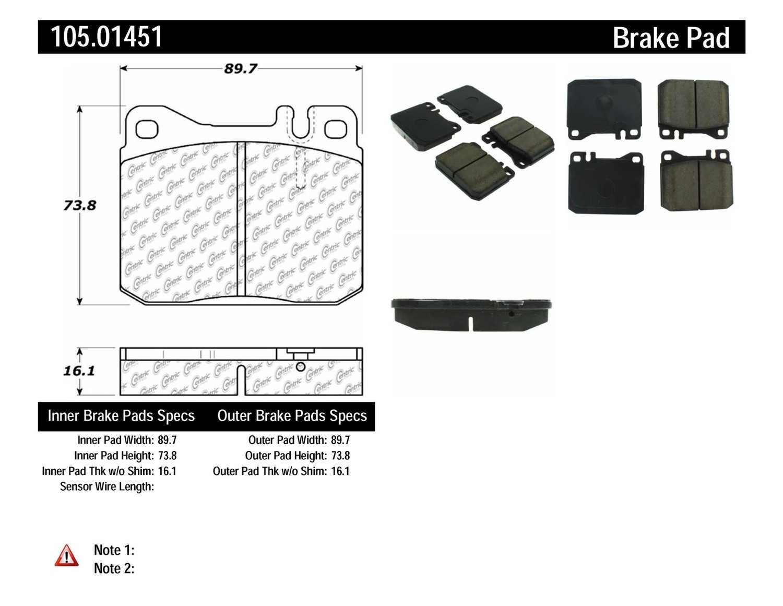 CENTRIC PARTS - Posi-Quiet Ceramic Disc Brake Pad w/Shims (Front) - CEC 105.01451