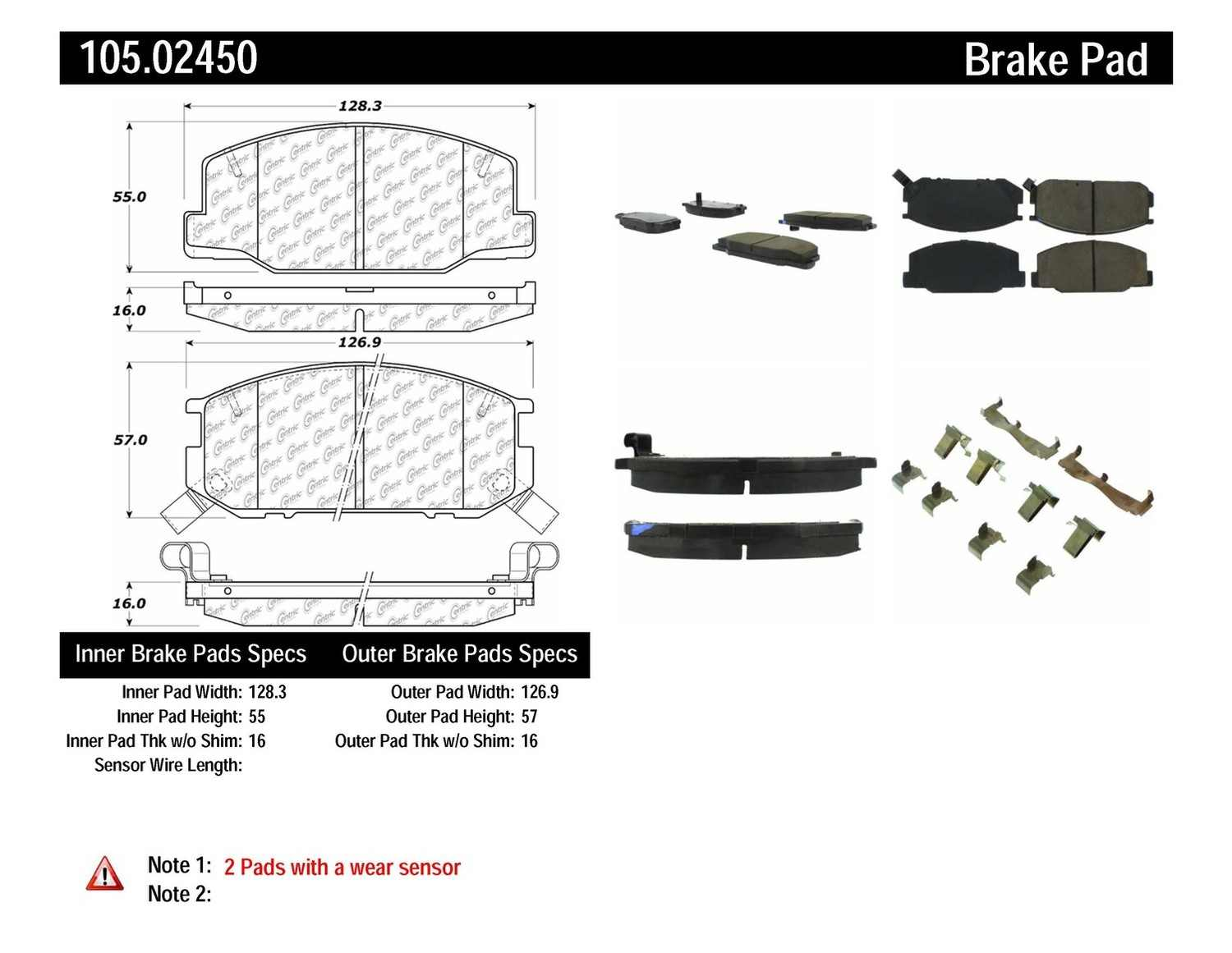 CENTRIC PARTS - Posi-Quiet Ceramic Disc Brake Pad w/Shims & Hardware-Preferred (Front) - CEC 105.02450