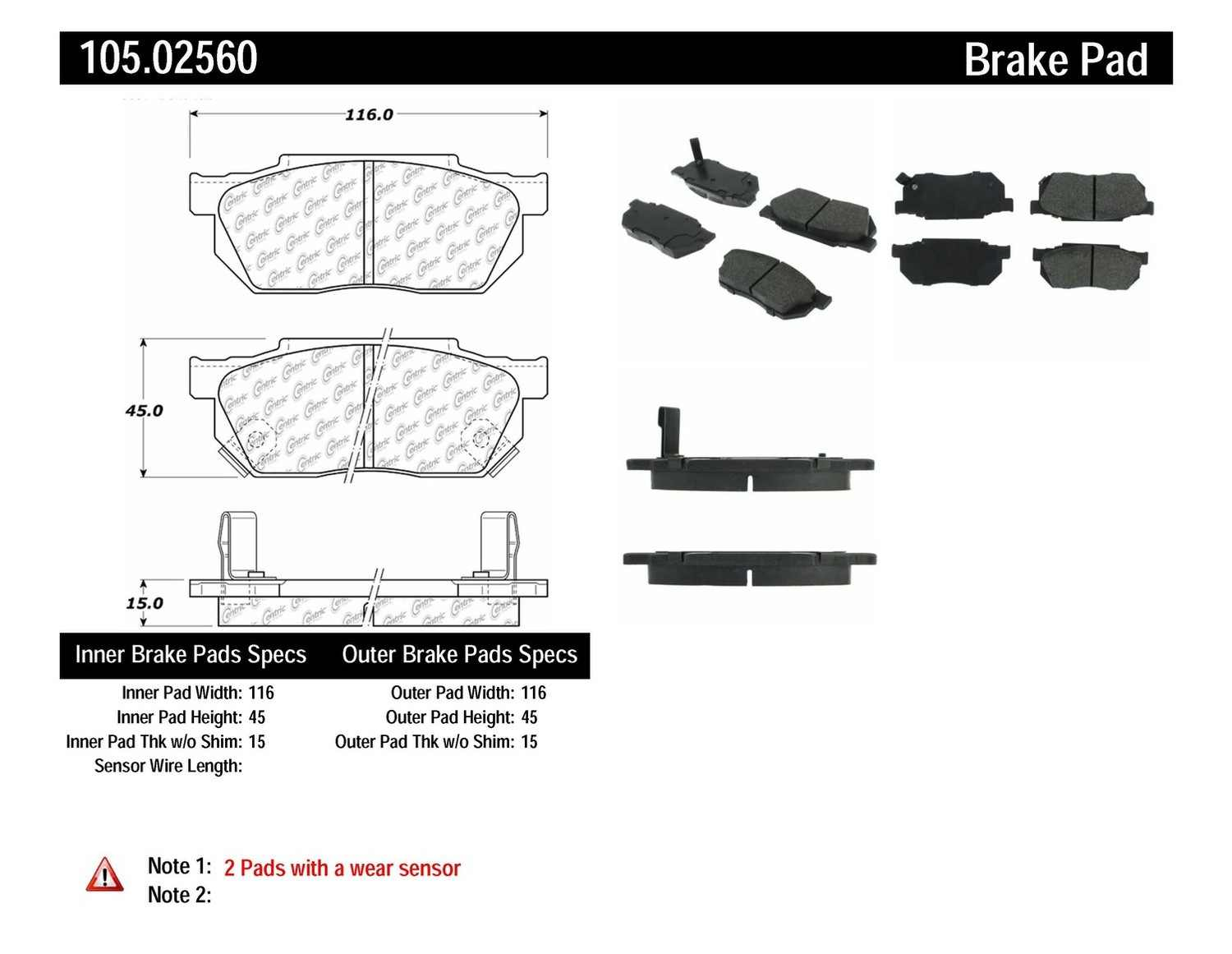 CENTRIC PARTS - Posi-Quiet Ceramic Disc Brake Pad w/Shims (Front) - CEC 105.02560