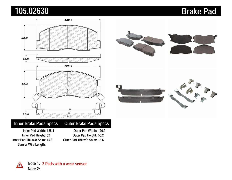 CENTRIC PARTS - Posi-Quiet Ceramic Disc Brake Pad w/Shims & Hardware-Preferred (Front) - CEC 105.02630