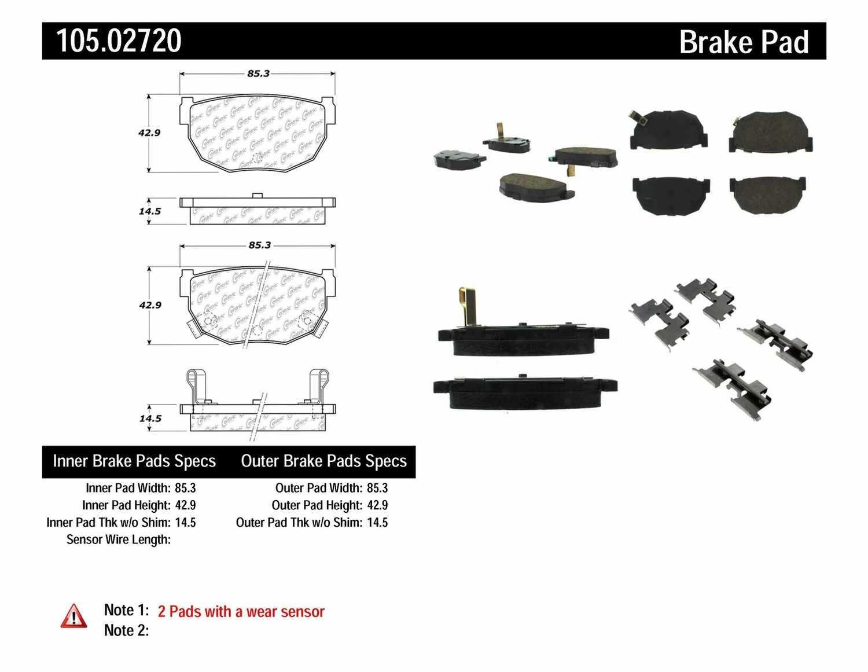 CENTRIC PARTS - Posi-Quiet Ceramic Disc Brake Pad w/Shims & Hardware-Preferred (Rear) - CEC 105.02720