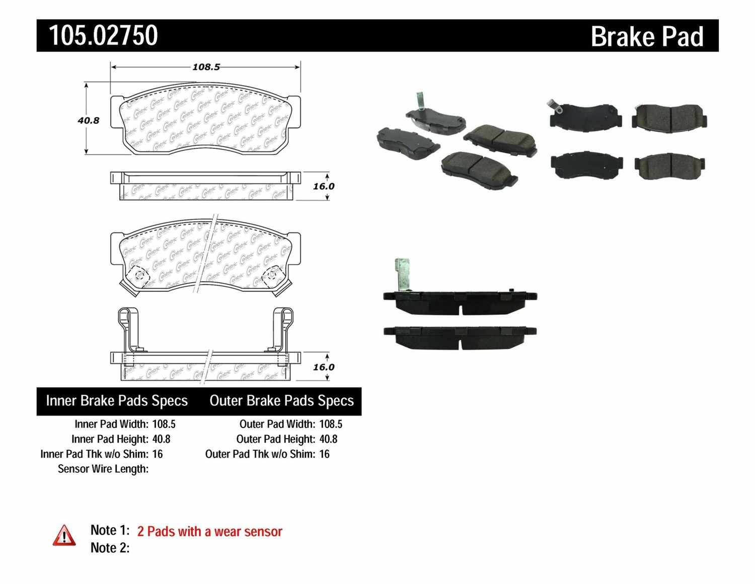 CENTRIC PARTS - Posi-Quiet Ceramic Disc Brake Pad w/Shims-Preferred (Front) - CEC 105.02750