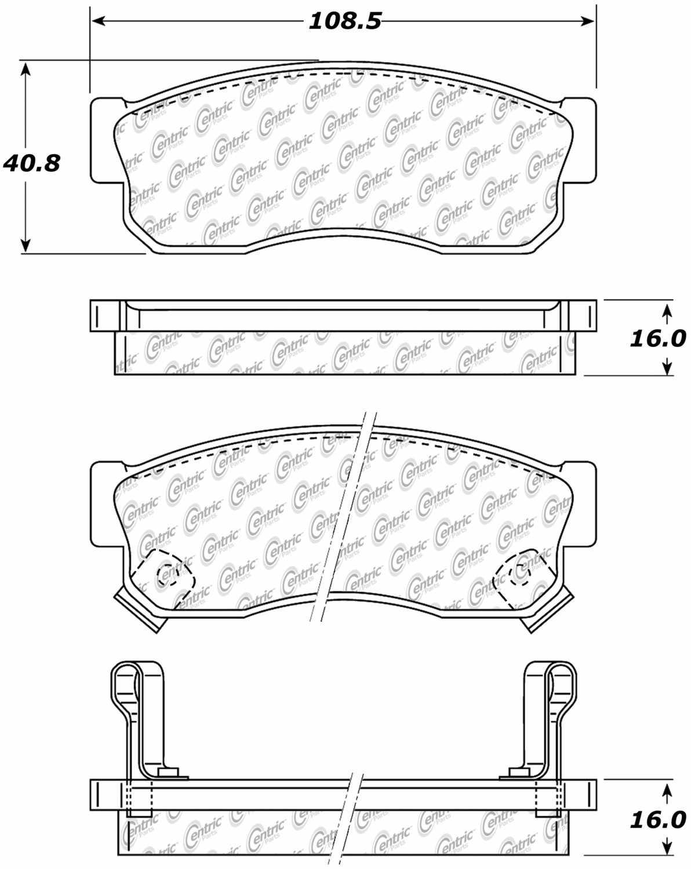 CENTRIC PARTS - Posi-Quiet Ceramic Disc Brake Pad w/Shims-Preferred (Front) - CEC 105.02750