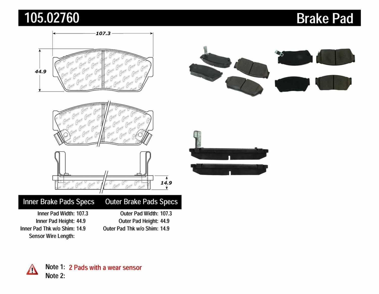 CENTRIC PARTS - Posi-Quiet Ceramic Disc Brake Pad w/Shims-Preferred (Front) - CEC 105.02760