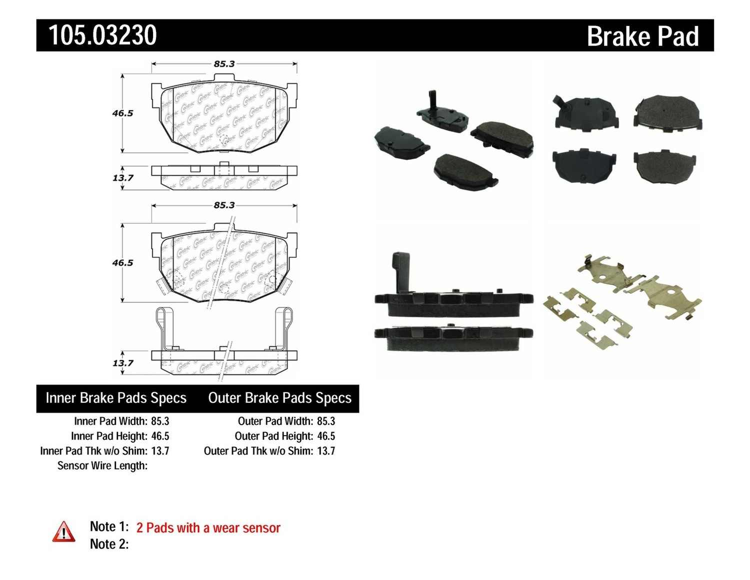 CENTRIC PARTS - Posi-Quiet Ceramic Disc Brake Pad w/Shims & Hardware-Preferred (Rear) - CEC 105.03230