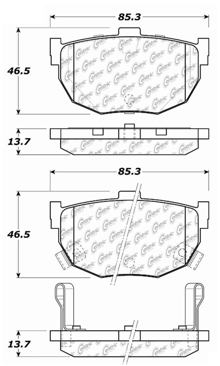 CENTRIC PARTS - Posi-Quiet Ceramic Disc Brake Pad w/Shims & Hardware-Preferred (Rear) - CEC 105.03230