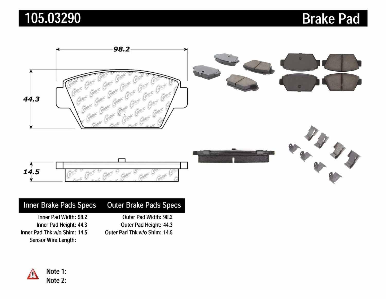 CENTRIC PARTS - Posi-Quiet Ceramic Disc Brake Pad w/Shims & Hardware-Preferred (Rear) - CEC 105.03290