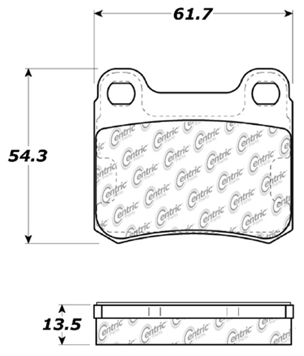 CENTRIC PARTS - Posi-Quiet Ceramic Disc Brake Pad w/Shims-Preferred (Rear) - CEC 105.03350