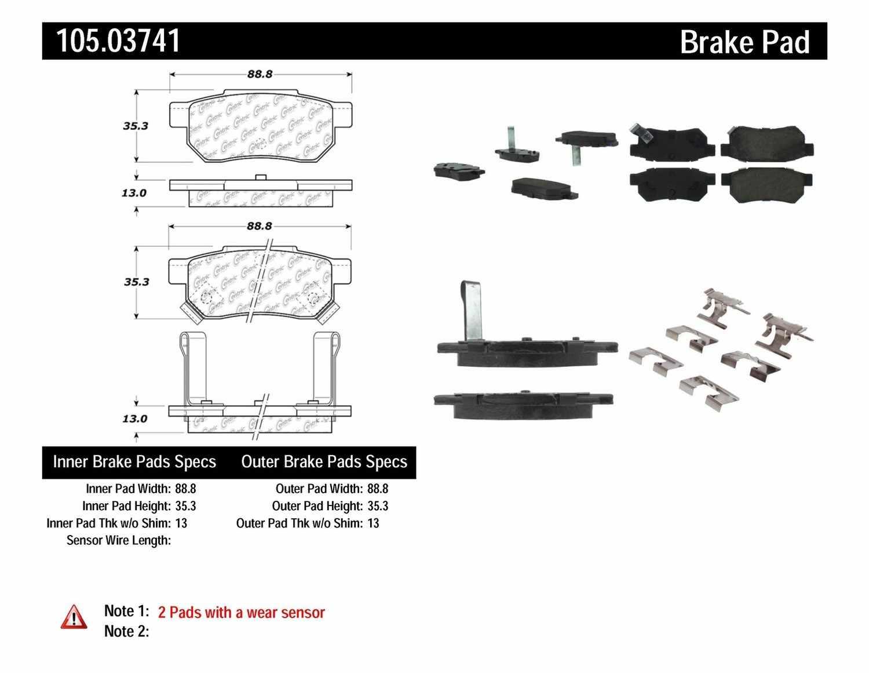CENTRIC PARTS - Posi-Quiet Ceramic Disc Brake Pad w/Shims & Hardware-Preferred (Rear) - CEC 105.03741