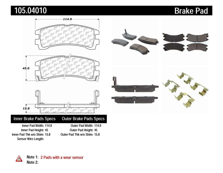 CENTRIC PARTS - Posi-Quiet Ceramic Disc Brake Pad w/Shims & Hardware (Rear) - CEC 105.04010