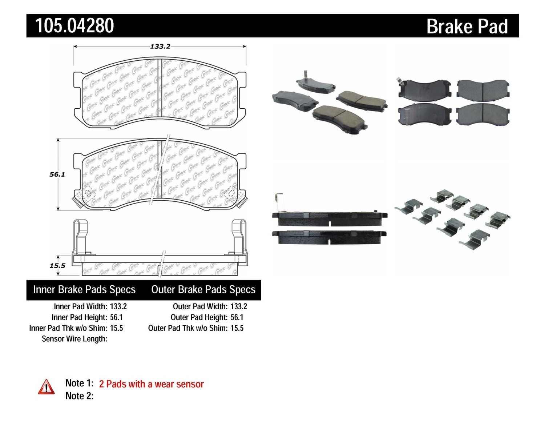 CENTRIC PARTS - Posi-Quiet Ceramic Disc Brake Pad w/Shims & Hardware (Front) - CEC 105.04280
