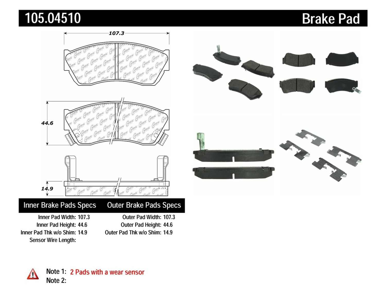 CENTRIC PARTS - Posi-Quiet Ceramic Disc Brake Pad w/Shims & Hardware-Preferred (Front) - CEC 105.04510