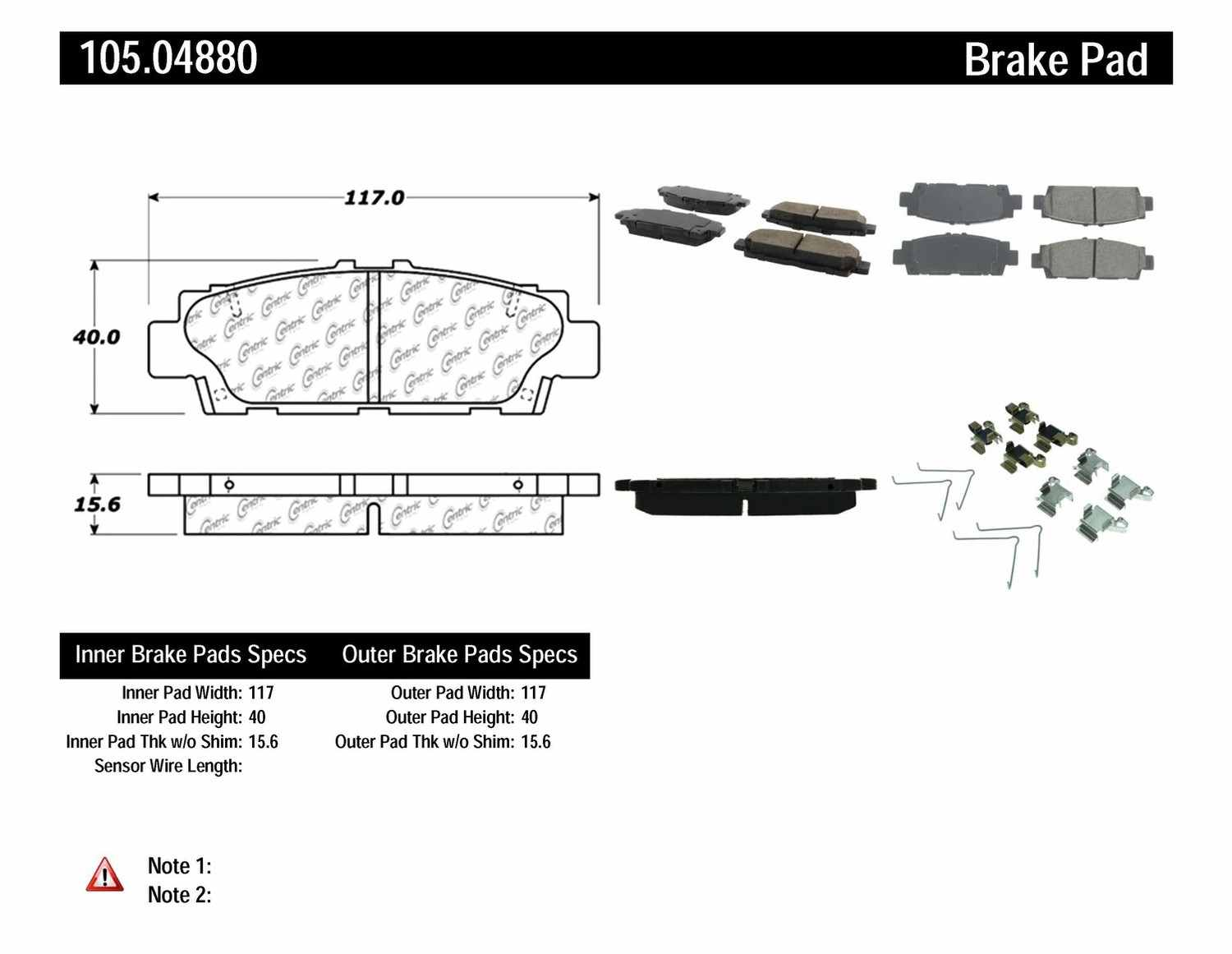 CENTRIC PARTS - Posi-Quiet Ceramic Disc Brake Pad w/Shims & Hardware-Preferred (Rear) - CEC 105.04880