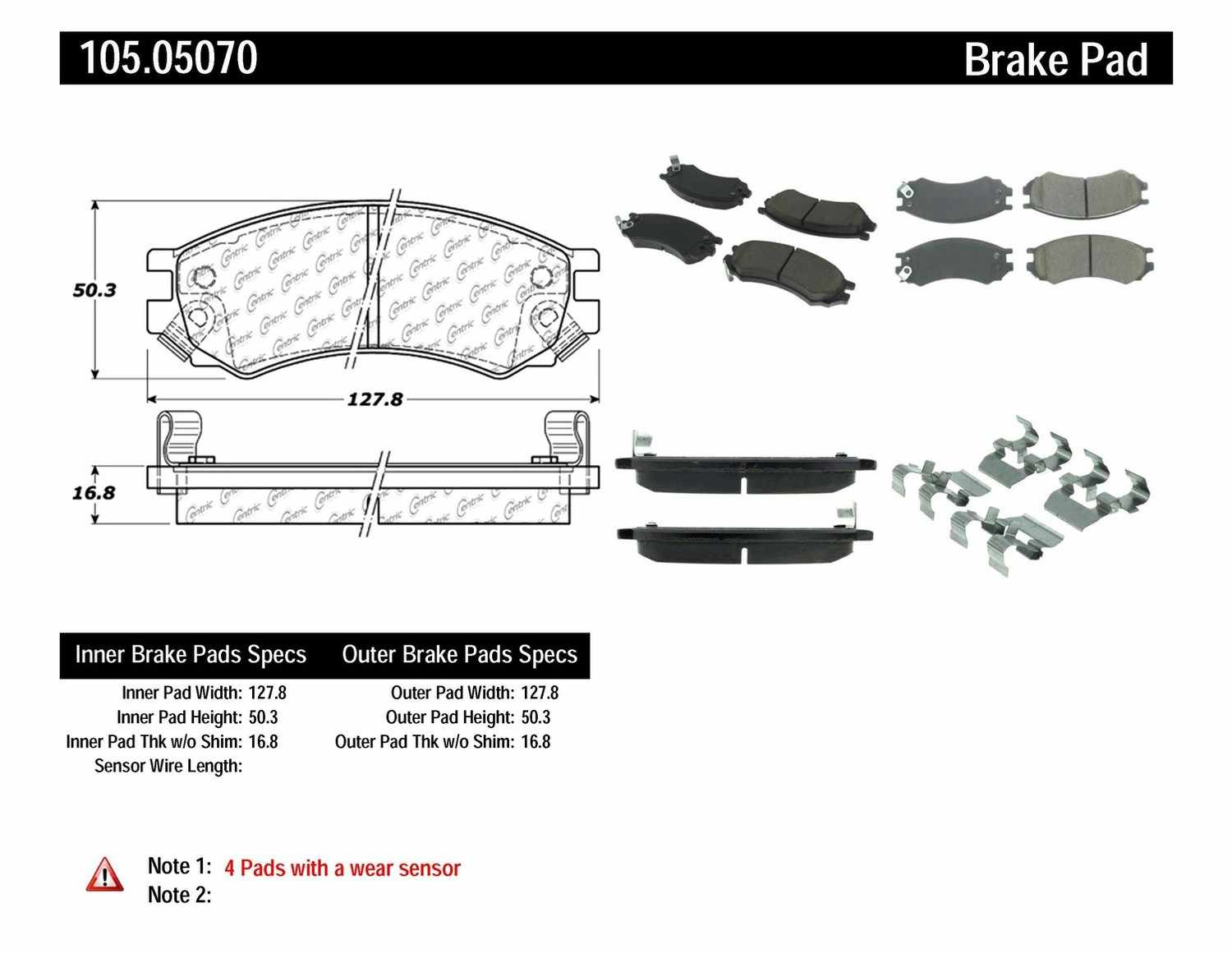 CENTRIC PARTS - Posi-Quiet Ceramic Disc Brake Pad w/Shims & Hardware-Preferred (Front) - CEC 105.05070