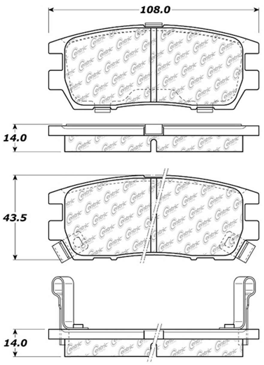 CENTRIC PARTS - Posi-Quiet Ceramic Disc Brake Pad w/Shims & Hardware-Preferred (Rear) - CEC 105.05670