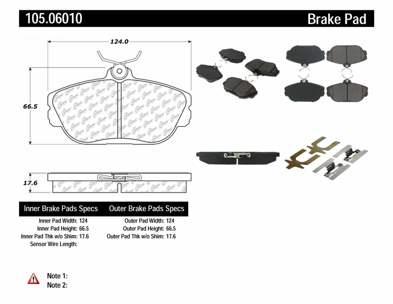 Centric Parts Disc Brake Pad Set Part Number 10506010 Gl Break Sensor Wiring Diagram Posi Quiet Ceramic W Shims Hardware