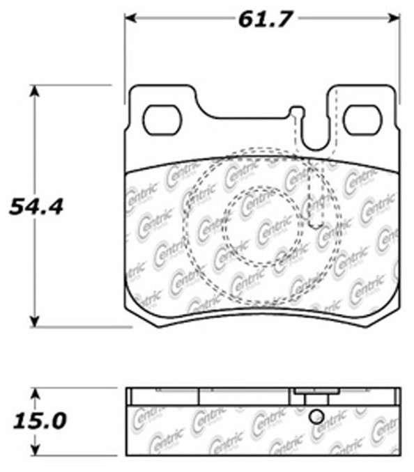CENTRIC PARTS - Posi-Quiet Ceramic Disc Brake Pad w/Shims & Hardware (Rear) - CEC 105.06200