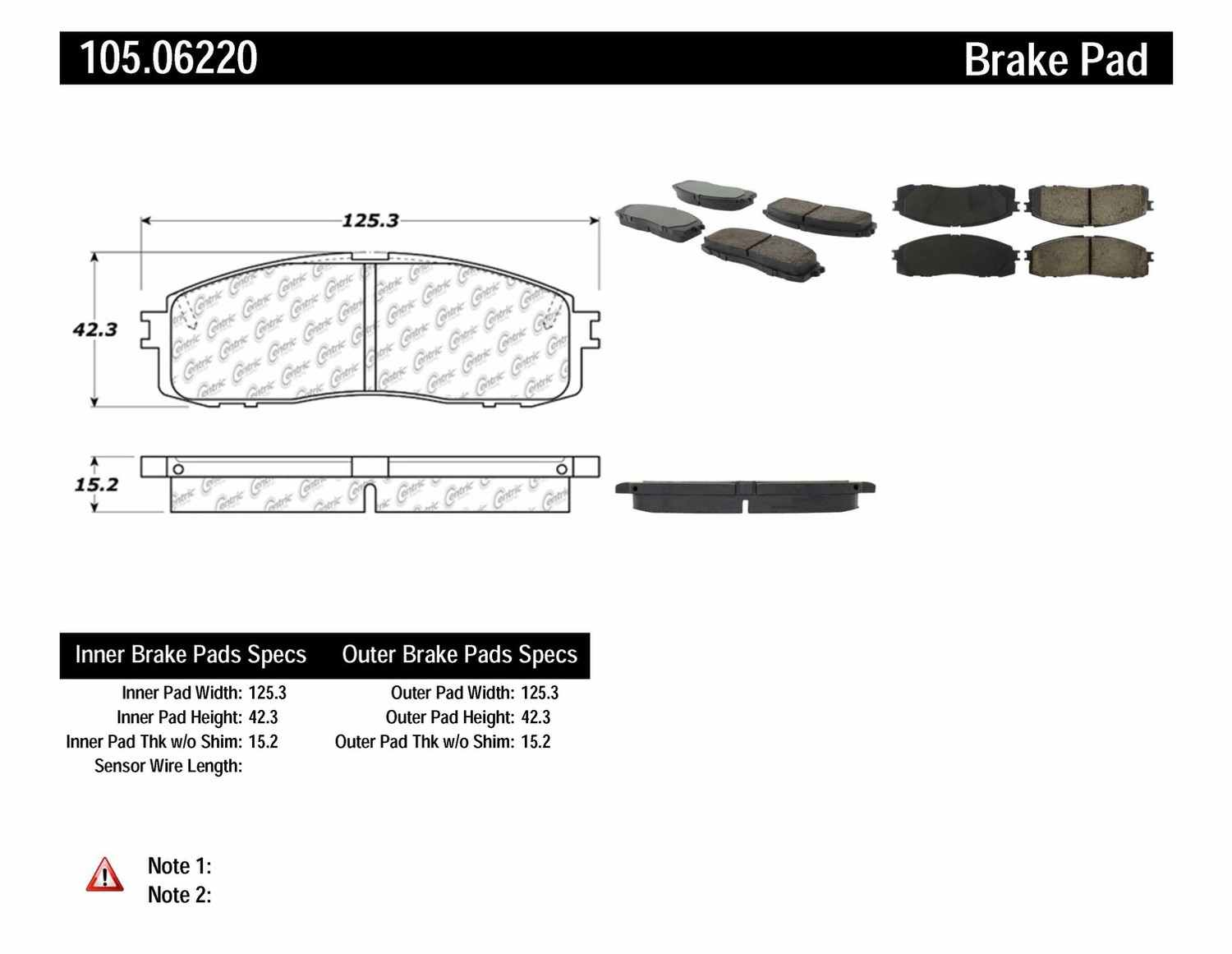 CENTRIC PARTS - Posi-Quiet Ceramic Disc Brake Pad w/Shims-Preferred (Rear) - CEC 105.06220