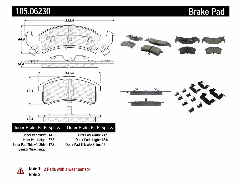 CENTRIC PARTS - Posi-Quiet Ceramic Disc Brake Pad w/Shims & Hardware (Front) - CEC 105.06230