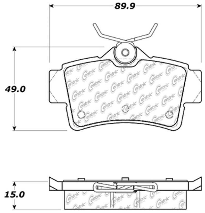 CENTRIC PARTS - Posi-Quiet Ceramic Disc Brake Pad w/Shims & Hardware (Rear) - CEC 105.06271