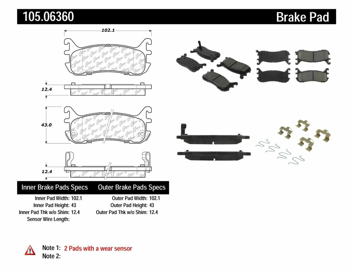 CENTRIC PARTS - Posi-Quiet Ceramic Disc Brake Pad w/Shims & Hardware-Preferred (Rear) - CEC 105.06360