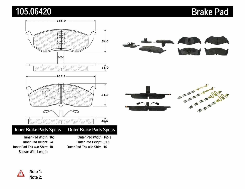 centric parts disc brake pad set part number 105 06420 rh mypartsgarage com Brake Piston Semi Brakes Diagram
