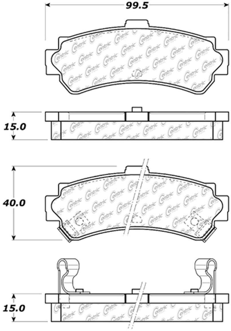 CENTRIC PARTS - Posi-Quiet Ceramic Disc Brake Pad w/Shims & Hardware-Preferred (Rear) - CEC 105.06690
