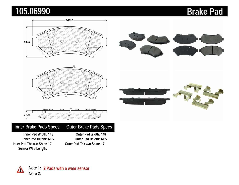CENTRIC PARTS - Posi-Quiet Ceramic Disc Brake Pad w/Shims & Hardware (Front) - CEC 105.06990