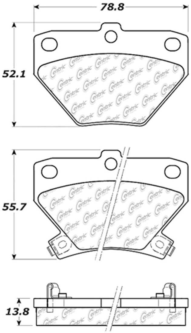 CENTRIC PARTS - Posi-Quiet Ceramic Disc Brake Pad w/Shims & Hardware-Preferred (Rear) - CEC 105.08230