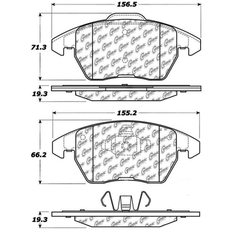 CENTRIC PARTS - Posi-Quiet Ceramic Disc Brake Pad w/Shims & Hardware-Preferred (Front) - CEC 105.11072