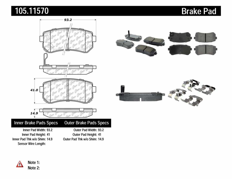 CENTRIC PARTS - Posi-Quiet Ceramic Disc Brake Pad w/Shims & Hardware-Preferred (Rear) - CEC 105.11570